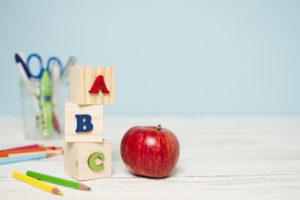 manzana del comedor del colegio